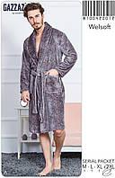 Мужской халат с карманами однотонный