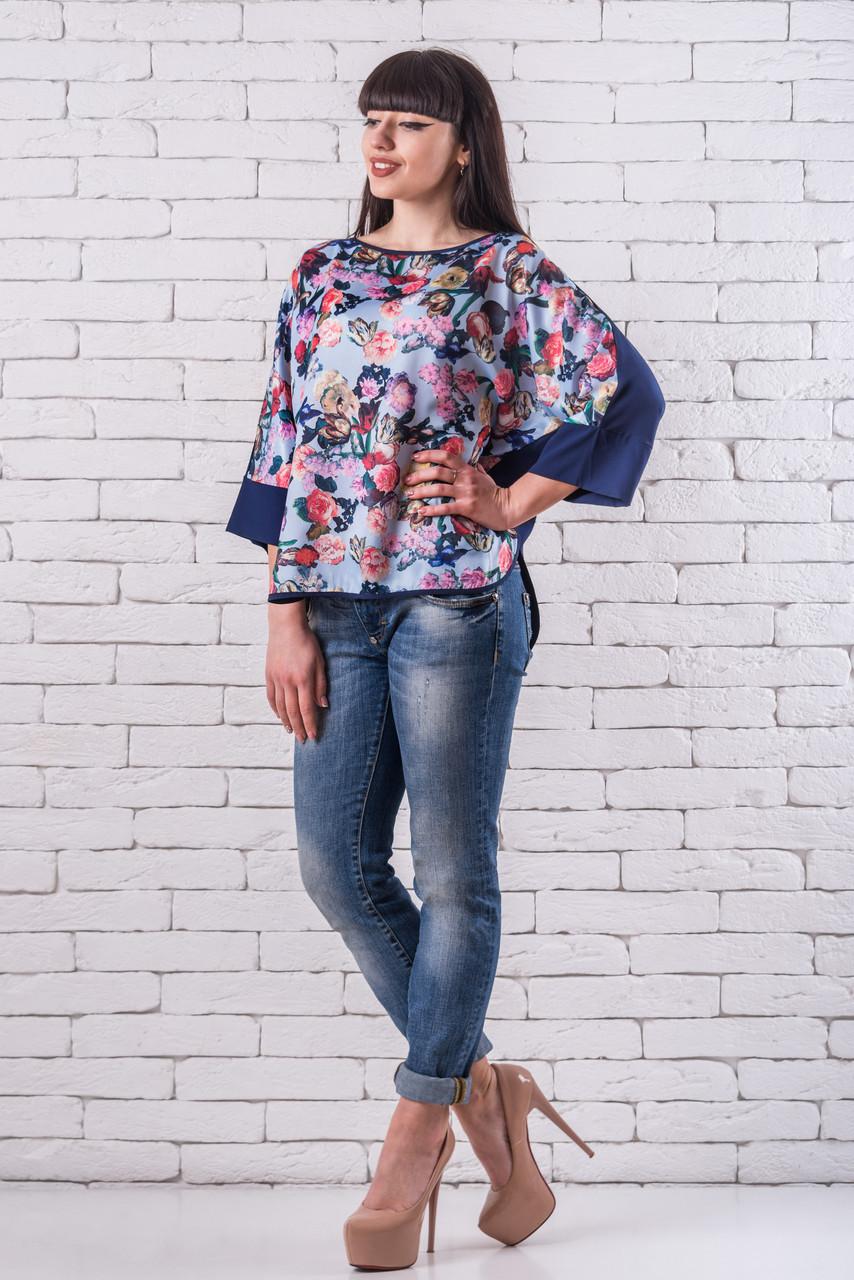 Женская блуза 50-56 голубой+синий с цветочным принтом