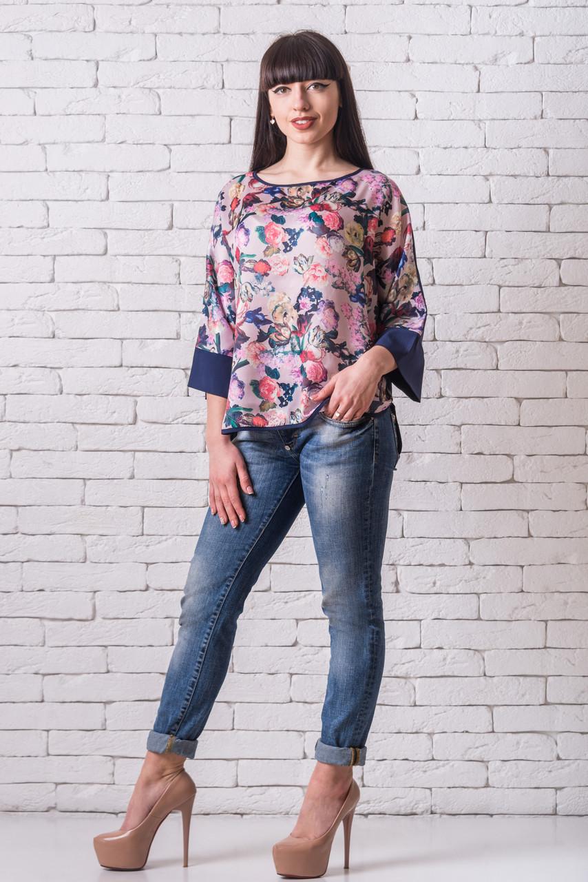 Женская блуза 50-56 пудра+синий с цветочным принтом