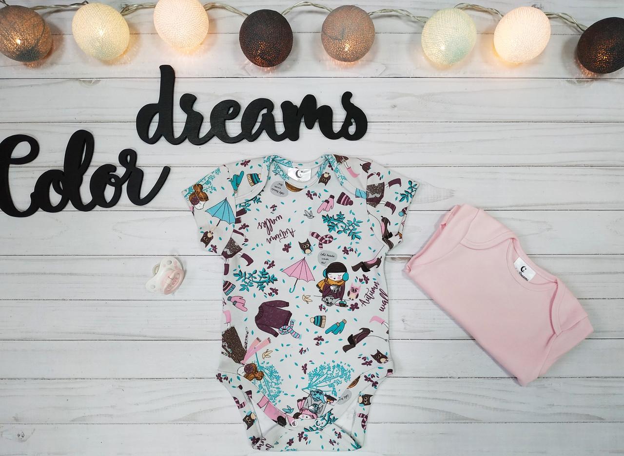 Комплект  из двух бодиков  с коротким рукавом девочка+розовый для младенца