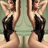 Пышный черный сексуальный теддик с голой спинкой 17007, фото 2