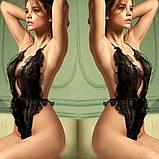 Пышный черный сексуальный теддик с голой спинкой 17007, фото 3