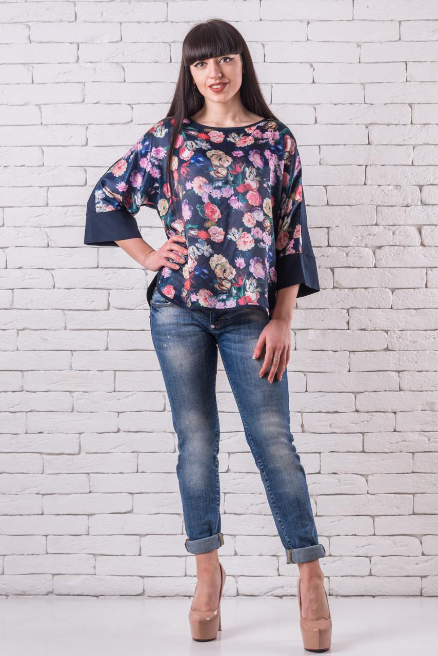 Женская блузка летняя большой размер  50-56 синий с цветочным принтом