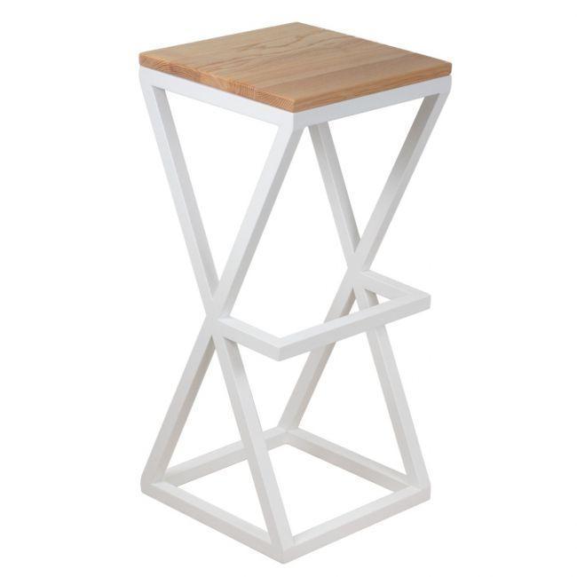 Квадратный барный стул в стиле LOFT из белого металла и натурального дерева