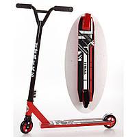 Спортивный самокат трюковой iTrike SR 2-036-8-R для школьника, с амортизацией, поворот руля на 360,  красный