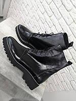 Женские легенькие черные лаковые ботинки на шнурках низкий ход Италия ЛЮКС