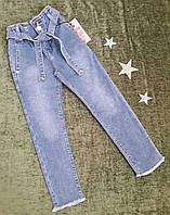 Джинсы на девочку, р. 8 - 12 лет, светло-синий.