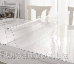 Термостойкая прозрачная ПВХ скатерть на стол, толщина 0,8 мм. 800 мкм НА МЕТРАЖ ширина 140 СМ (Жидкое стекло), фото 3