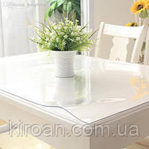 Термостойкая прозрачная ПВХ скатерть на стол, толщина 0,8 мм. 800 мкм НА МЕТРАЖ ширина 140 СМ (Жидкое стекло), фото 2