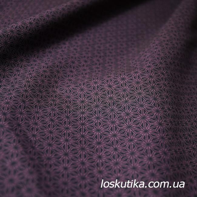 54012 Черня геометрия со сливовым оттенком. Ткани с геометрическим рисунком для пэчворка.