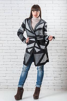 Кардиган с капюшоном женский вязаный  48-54 серый + черный
