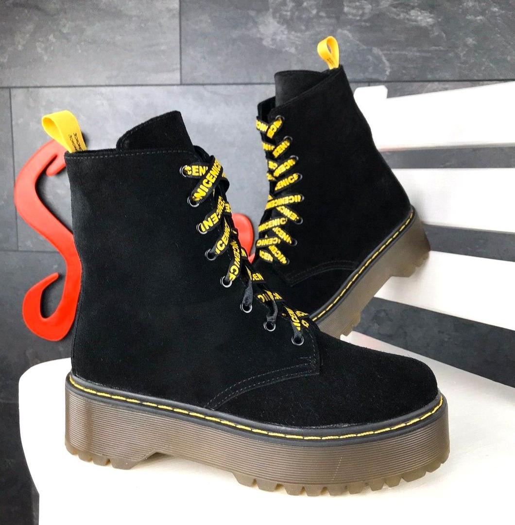 Женские демисезонные ботинки в черном цвете, из натуральной замши 36, 37 ПОСЛЕДНИЕ РАЗМЕРЫ
