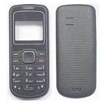 Корпус для телефона Nokia 1202 (передняя и задняя панель с клавиатурой) (Качество ААА) (Черный) Распродажа!