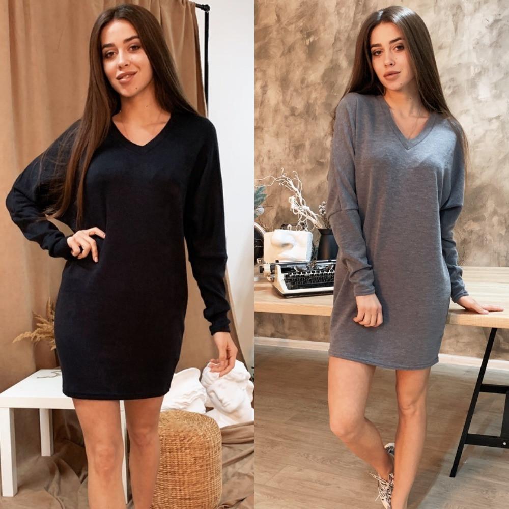 Платье-туника женское, теплое, ангора, свободное, повседневное, прямое, с длинным рукавом, удобное, модное