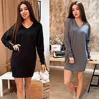 Платье-туника женское, теплое, ангора, свободное, повседневное, прямое, с длинным рукавом, удобное, модное, фото 1