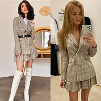 Костюм двойка женский, в клетку, удлиненный пиджак и юбка короткая в складку, повседневный, офисный, модный, фото 1