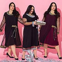 Женское платье батал с хомутом /разные цвета, 52-66, ST-56815/