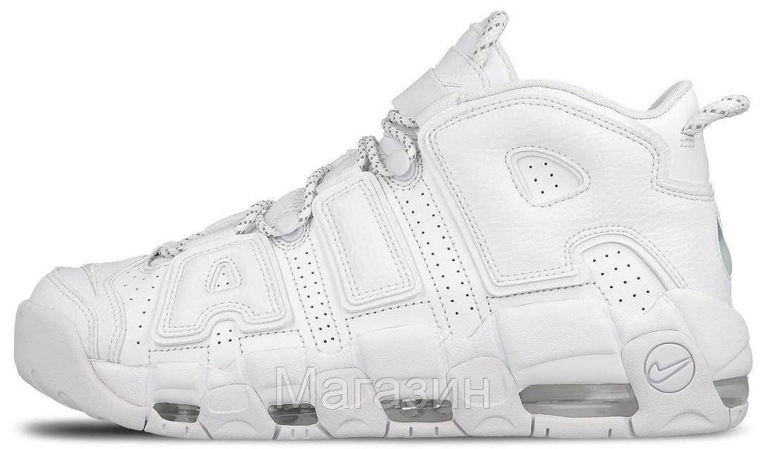 Женские кроссовки Nike Air More Uptempo Triple White Найк Аир Аптемпо белые