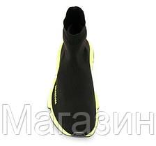Мужские кроссовки Balenciaga Speed Trainer Black Yellow Баленсиага с носком черные с белым, фото 2