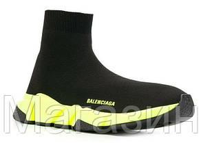 Мужские кроссовки Balenciaga Speed Trainer Black Yellow Баленсиага с носком черные с белым, фото 3