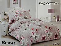 Сатиновое постельное белье полуторное ELWAY 5073 «Цветы»