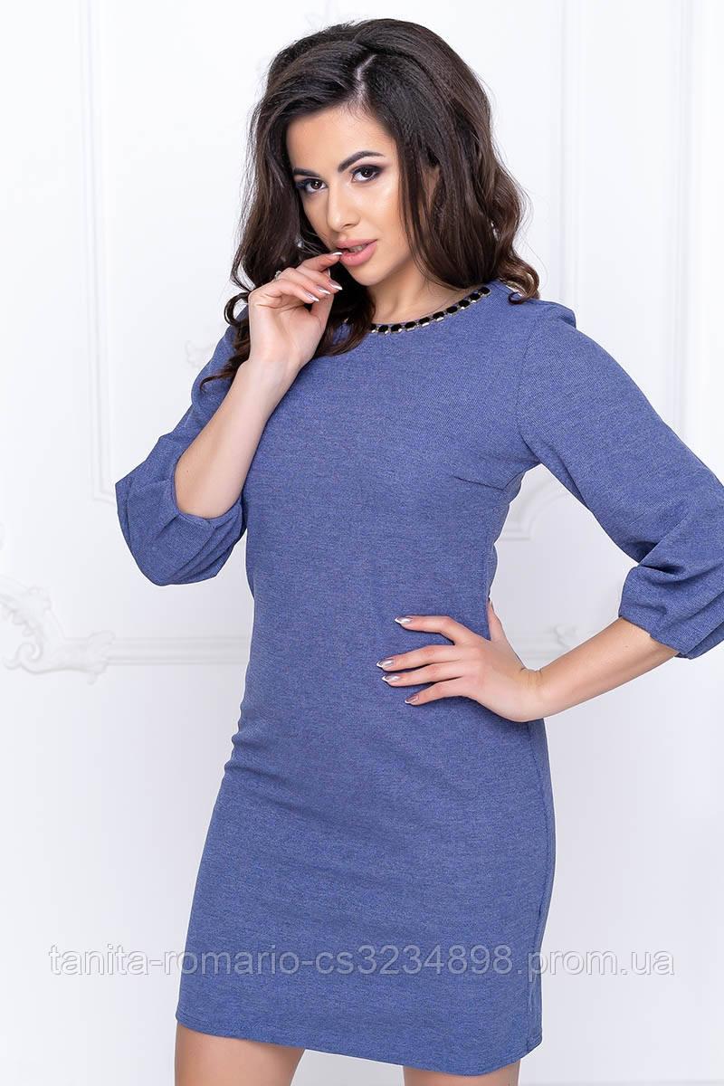 Повсякденна сукня рукавчик ліхтарик серо-голубого цвета XL