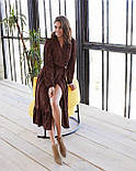 Женское модное длинное  платье в горошек на запах с воланом (2 цвета), фото 9