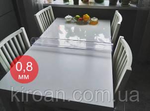 Термостойкая прозрачная ПВХ скатерть на стол, толщина 0,8 мм. 800 мкм НА МЕТРАЖ ширина 140 СМ (Жидкое стекло)