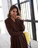 Женское модное длинное  платье в горошек на запах с воланом (2 цвета), фото 8