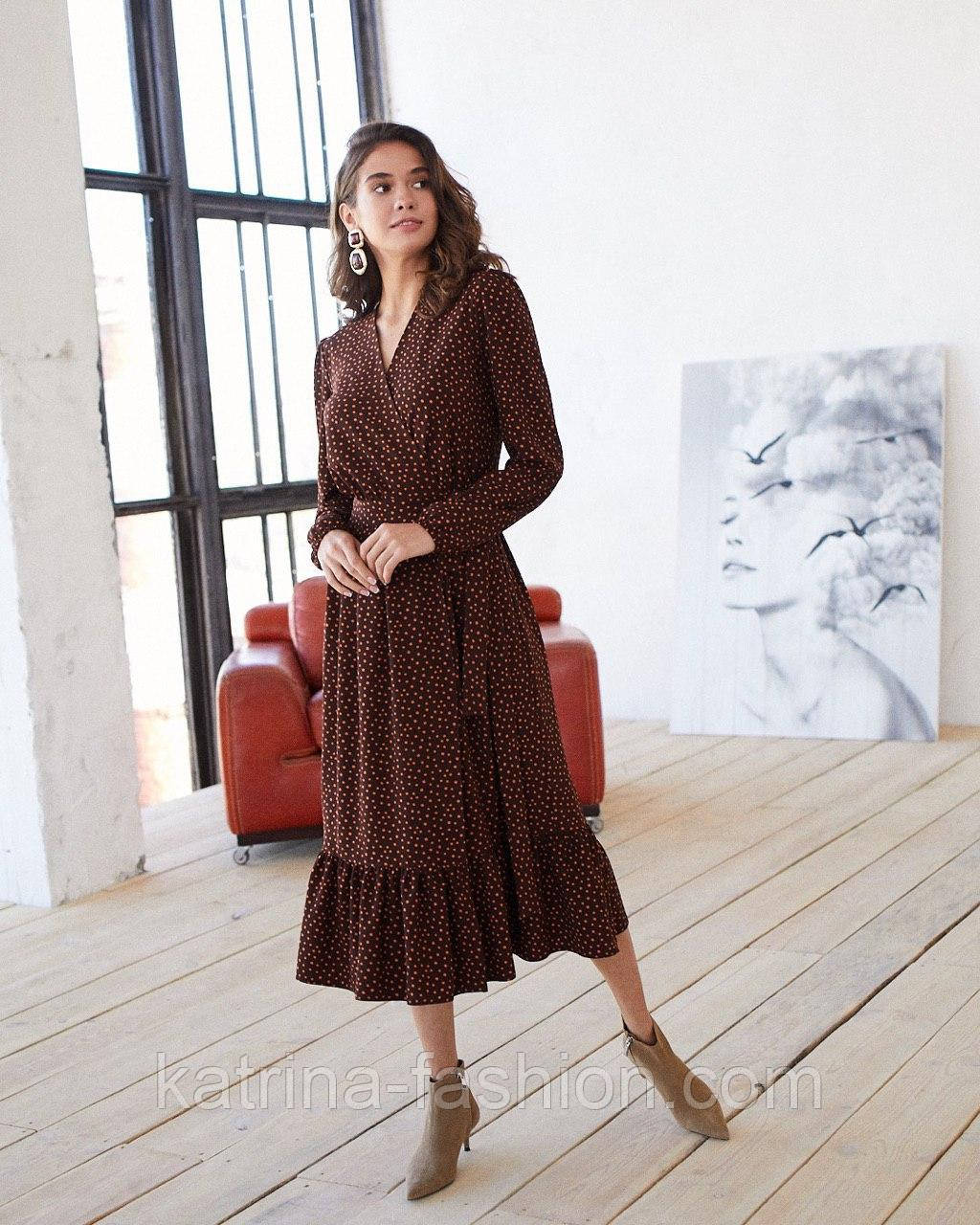 Женское модное длинное  платье в горошек на запах с воланом (2 цвета)