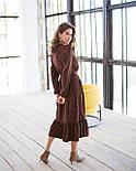 Женское модное длинное  платье в горошек на запах с воланом (2 цвета), фото 6