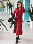 Женское модное длинное  платье в горошек на запах с воланом (2 цвета), фото 4