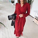 Женское модное длинное  платье в горошек на запах с воланом (2 цвета), фото 2