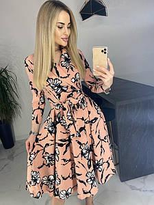 """Приталенное миди-платье в цветочек """"Lillie"""" с расклешенной юбкой (3 цвета)"""