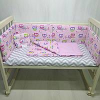Розовый комплект в кроватку защита с подушкой и одеялом Совы