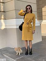 Удобное трикотажное платье по колено с поясом арт 007