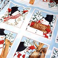 53001 Снежная история (купон). Ткань новогодняя с изображением снеговиков., фото 1