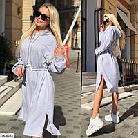 Модное спортивное платье двухнить с капюшоном арт 010