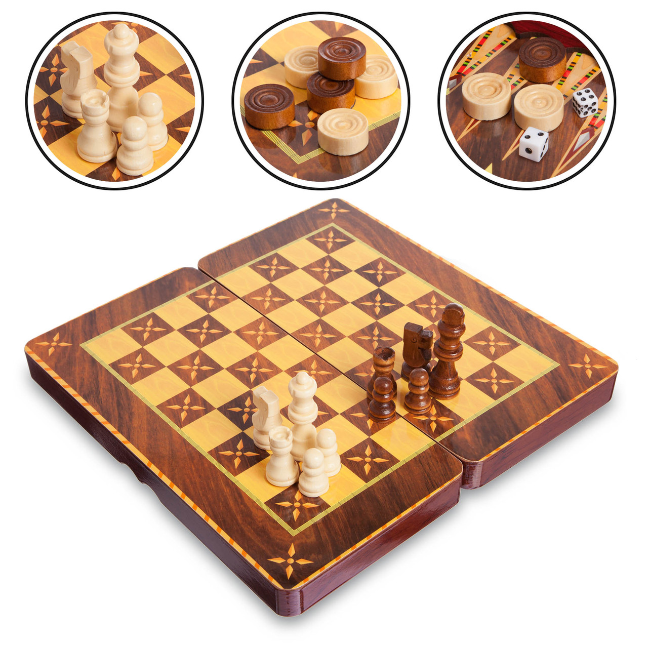 Шахматы, шашки, нарды 3 в 1 (29 x 29см) 5566C