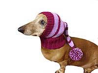 Вязанная теплая шапка для собаки ручной работы