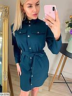 Модное короткое платье рубашка на кнопках с поясом арт 125