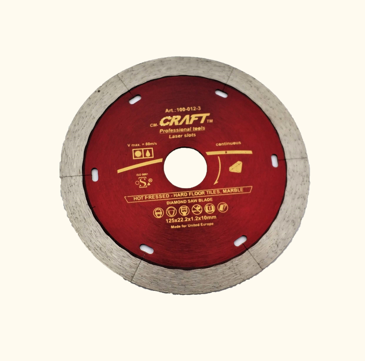 12-3 Диск Craft алм.гарячого пресування із суцільним різцем 125*22.2*1.2*10мм мокр/сух різ ках/керам