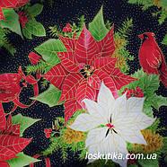 54015 Рождественская свирель. Ткань с золотом. Американские ткани с цветочным принтом. Квилтинговые ткани., фото 3