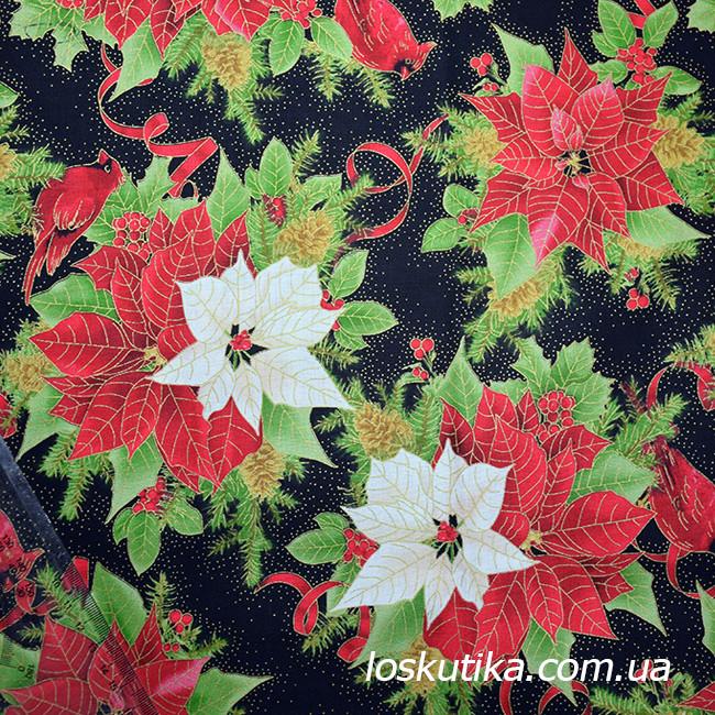 54015 Рождественская свирель. Ткань с золотом. Американские ткани с цветочным принтом. Квилтинговые ткани.