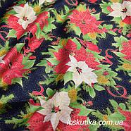 54015 Рождественская свирель. Ткань с золотом. Американские ткани с цветочным принтом. Квилтинговые ткани., фото 2