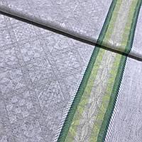 Льон рушникові жакардовий з ромбами і зеленою смужкою, ширина 50 см