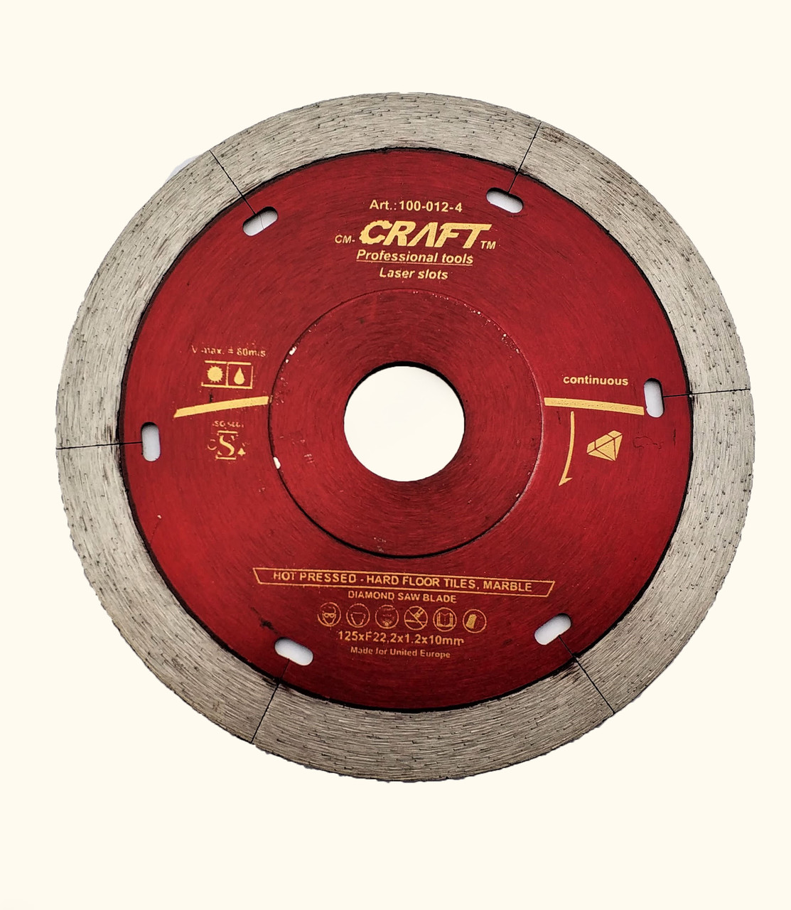 112-4 Диск Craft алм. гарячого пресування із суцільним різцем, фланцем та лазерними шліцами 125*22,2*1,2*10мм