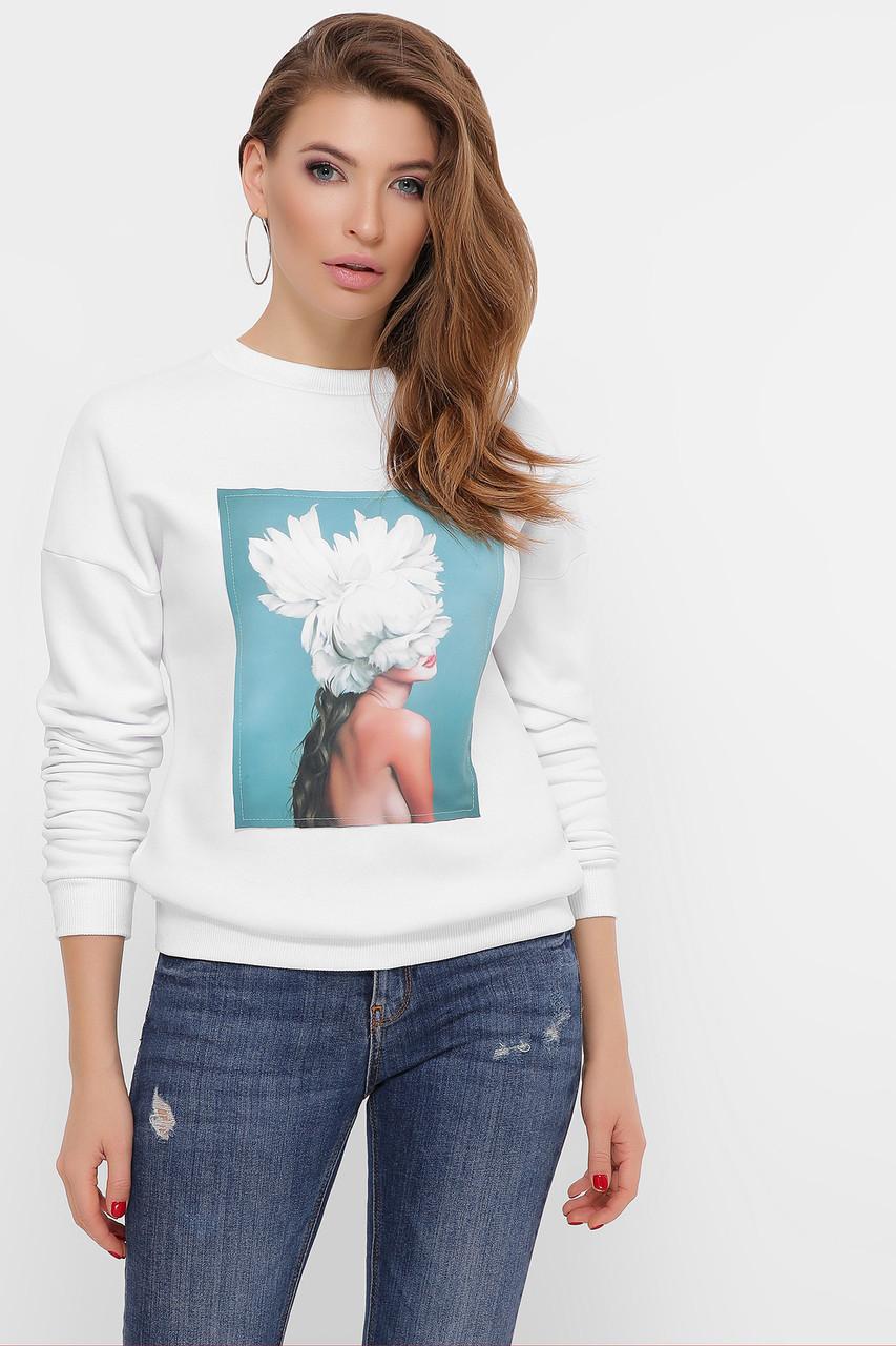 Женский свитшот белый с принтом Пионы