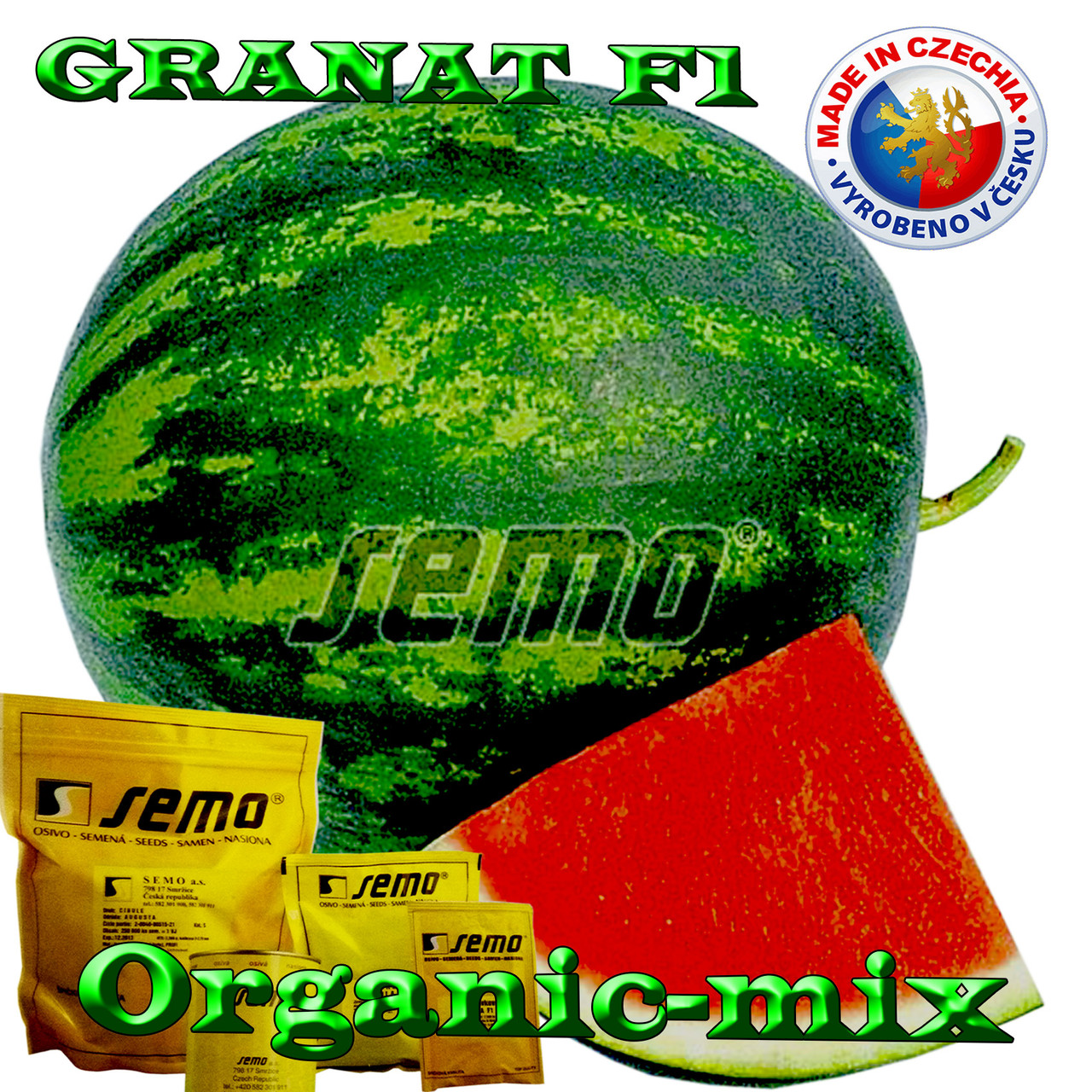 Арбуз бессемянный, ГРАНАТ F1 / GRANAT F1, ТМ SEMO (Чехия) пакет 10 грамм (ориентировочно 200 семян)