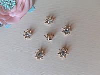 Серединка корона золотая с кристаллом - набор 10 шт